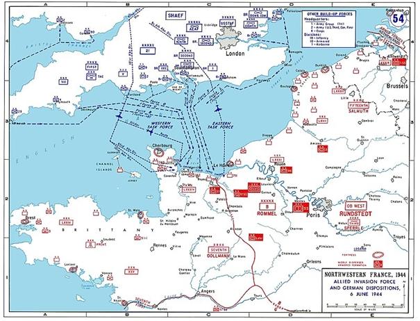 Podrobná mapa plánované invaze do Francie